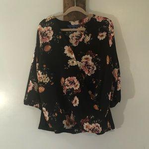 Long sleeve faux wrap blouse by Apt 9, size XL